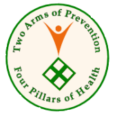 Corporate web logo emphasizing the four pillars of health and two arms of prevention approach to building an ageless body and an ageless mind.