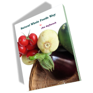 This e-book cover photo shows a basket of fresh vegetables to symbolize the natural whole foods way of eating.