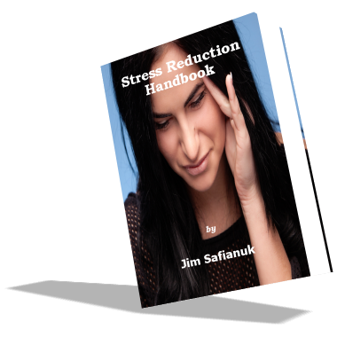 This larger cover photo shows a woman who is in need of stress relief. Both immediate stress relief and prolonged stress reduction techniques are part of the Stress Reduction Handbook.
